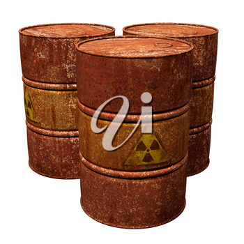 Isolated illustration of three hazardous waste drums