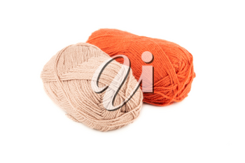 Two knitting yarn clews isolated on white background.