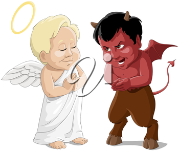 Royalty Free Clipart Image of an Angel and Devil