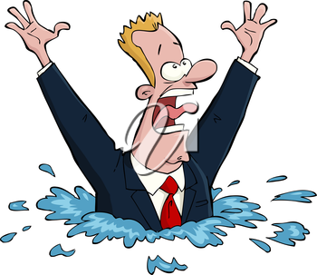 Royalty Free Clipart Image of a Drowning Man