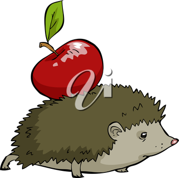 Royalty Free Clipart Image of a Hedgehog with an Apple