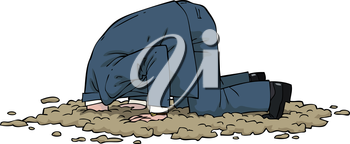 The man buried his head in the sand vector illustration