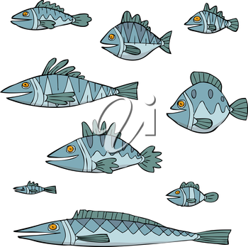 Set the fish on a white background vector illustration
