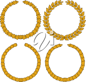 Four yellow wreath on a white background vector ilustration