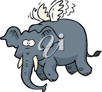 Cartoon doodle flying elephant on a white background vector illustration