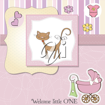 Royalty Free Clipart Image of a Birth Announcement With a Cat in the Centre and a Carriage in the Corner