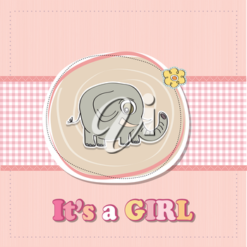 Royalty Free Clipart Image of a Baby Girl Birth Announcement