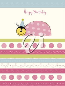 Royalty Free Clipart Image of a Birthday Card With a Ladybug