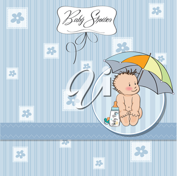 Royalty Free Clipart Image of a Baby Shower Card for a Little Boy