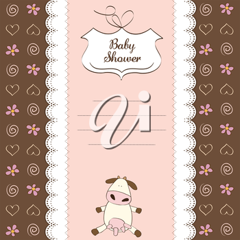 Royalty Free Clipart Image of a Baby Shower Invitation With a Cow