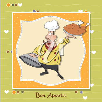 Royalty Free Clipart Image of a Cartoon Chef