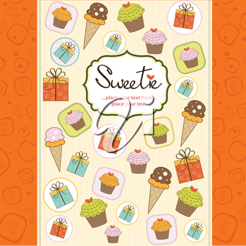 Royalty Free Clipart Image of a Card With Desserts and Gifts on It