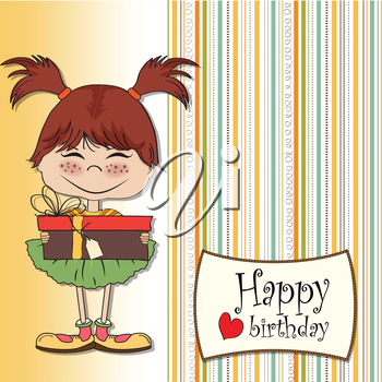 Royalty Free Clipart Image of a Birthday Card With a Little Girl on It