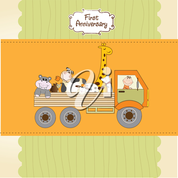 Royalty Free Clipart Image of an Anniversary Card With Animals in a Truck