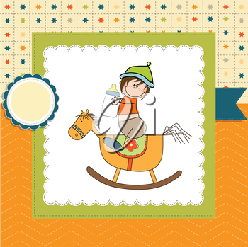 Royalty Free Clipart Image of a Child on a Rocking Horse