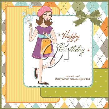 Royalty Free Clipart Image of a Birthday Girl Background