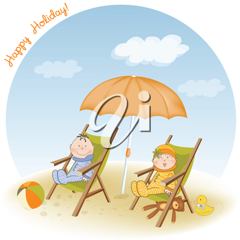 Royalty Free Clipart Image of Children on Chairs at the Beach