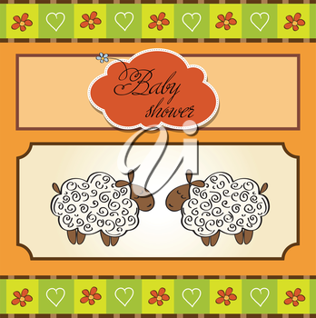 cute baby twins shower card with sheep