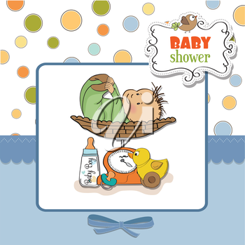 baby boy weighed on the scale, vector illustration