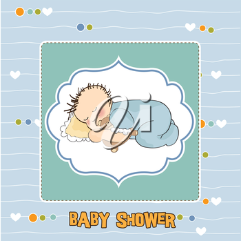 baby shower card with little baby boy sleep with his teddy bear toy