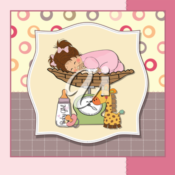 baby girl on on weighing scale, vector illustration
