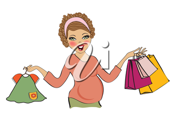 happy pregnant woman at shopping, isolated on white background, vector illustration