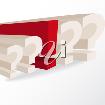 business decision, conceptual illustration with question marks and exclamation mark, vector format