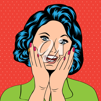 Pop Art illustration of a laughing woman, vector format