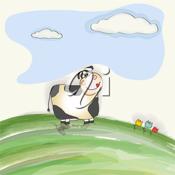 cute doodle cow on meadow, vector illustration