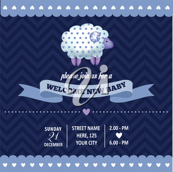 baby shower invitation with sheep  in retro style, vector format