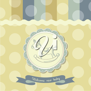 retro baby shower card with rocking horse, vector illustration