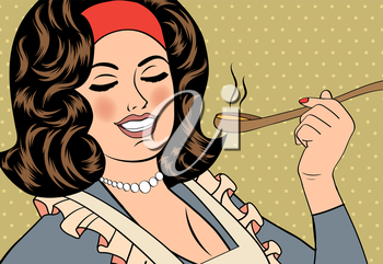 pop art retro woman with apron tasting her food. vector illustration