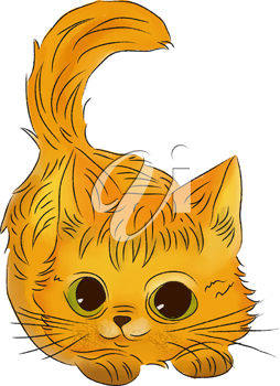 watercolor kitten isolated on white background, vector