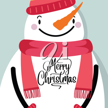 Christmas Card with snowman. Retro style Christmas poster. Vector
