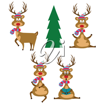 Funny flat design reindeers dressed for Christmas. Christmas bundle. Isolated on white background. Vector