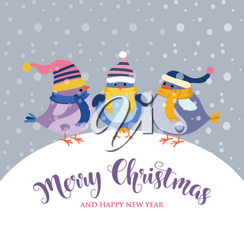 funnyl Christmas card with birds . Christmas poster. Vector