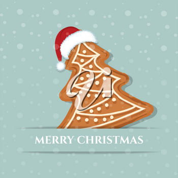 Beautiful Christmas card with gingerbread tree. Christmas background