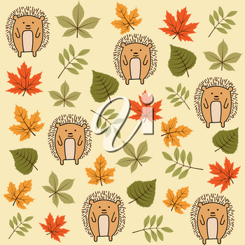 Doodle autumn seamless pattern with leaves and hedgehogs