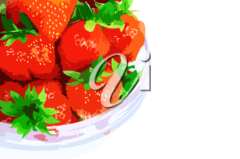 A heap of fresh strawberries in glass bowl . Vector