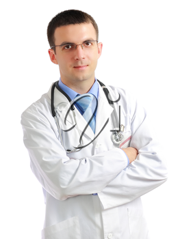 Portrait of friendly medical doctor with cross a hands. Isolated
