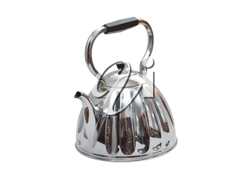 Old metal teapot on white background. Isolated over white.