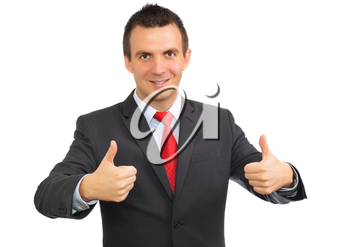 Cheerful businessman gesture show OK!  Isolated over white.