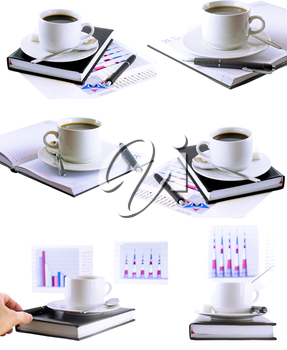 Business collage, collection-coffee cup, standing on the organizer. Isolated