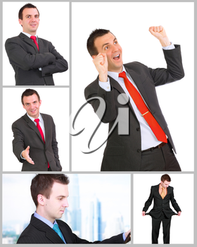 Set (collection) of european businessman.  Isolated over white background.