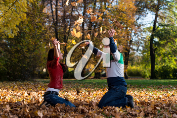 Couple Throwing Leaves In The Air