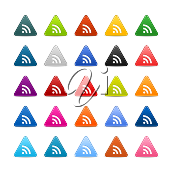 Royalty Free Clipart Image of a Set of Triangular Icons