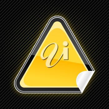 Royalty Free Clipart Image of a Yellow Triangular Sign