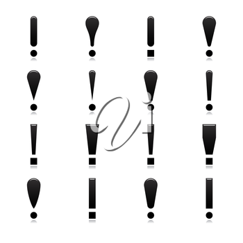 Royalty Free Clipart Image of a Bunch of Exclamation Marks