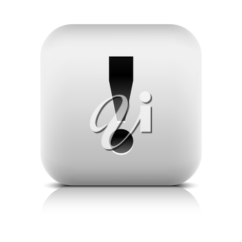 Attention icon with exclamation mark sign . Rounded button shape with black shadow and gray reflection on white background. Series in a stone style