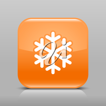 Orange glossy web button with low temperature sign snowflake symbol. Rounded square shape icon with shadow and reflection on light gray background